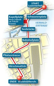 Umzugsroute des Fritschi-Umzug am Schmutzigen Donnerstag in der Stadt Luzern. (Bild: Grafik: Neue LZ)