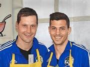 FCL-Goalie Dave Zibung und Remo Freuler (zentrales Mittelfeld FC Luzern). (Bild: Mario Merola)