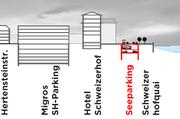 Im «Seeparking» sind zwei Ebenen vorgesehen (oben Cars, unten Personenwagen). Das bestehende Parkhaus der Migros an der Hertensteinstrasse (links) umfasst fünf Etagen.