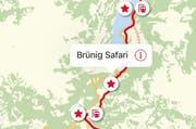 Die App «LiveGuide» der Zentralbahn beinhaltet auch eine Karte, welche die Sehenswürdigkeiten anzeigt. (Bild: pd)