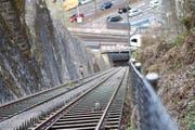 Von 1881 bis 1884 gebaut - und bis heute in aller Munde: die Gütschbahn in Luzern, von der Bergstation aus fotografiert. (Bild: Manuela Jans / Neue LZ)
