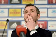 Alex Frei während der Pressekonferenz am Samstag im Anschluss an das Spiel gegen den FC Basel. (Bild: Keystone / Urs Flüeler)