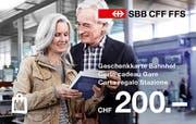 Die Geschenkkarte Bahnhof ist mit Guthaben zwischen 20 und 200 Franken erhältlich.