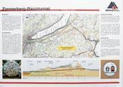 Der Verlauf des Zimmerberg-Basistunnel ist auf dem Alptransit-Flyer von 1998 schon mal vorgezeichnet. (Bild: Stefan Kaiser (Zug, 6.Februar 2018))