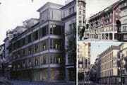 Die drei von der Jury prämierten Bauten. Gross sehen Sie das Siegerprojekt «Nocturne», rechts oben das Projekt «Wo ist Walter» und rechts unten dann das drittrangierte Projekt «Alla cappella» (Bild: Visualisierungen/Pd)