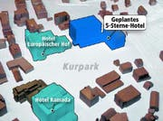 Der vorgesehene Standort des Hotels in Engelberg, angrenzend an den Kursaal und den Kurpark. (Bild Robert Hess/Grafik Oliver Marx)