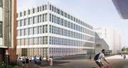 So sieht der Anbau an das bestehende Gebäude 745 in der Viscosistadt in Emmenbrücke aus. (Bild: Visualisierung Harry Gugger Studio)