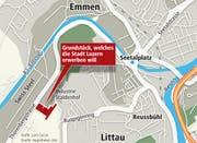 An der Thorenbergstrasse in Littau vis-à-vis der Swiss Steel will die Stadt Land kaufen. (Bild: Neue LZ)