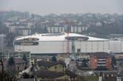 Blick auf die Baustelle der Mall of Switzerland in Ebikon. (Bild: Roger Grütter)