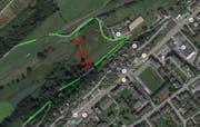 Der Weg durch das Moor wird abgebrochen (rot). Neu führt der Weg um den Rotsee via Reiterzentrum. (Bild: Maps Google)