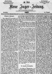 Die «Neue Zuger Zeitung» vom 31. August 1867.