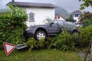 Der Autofahrer wich aus und landete mit seinem Auto in der Hecke. (Bild: Schwyzer Polizei)
