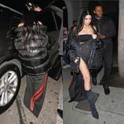 Kim Kardashian (links) trägt ein Kleid, das der Zuger Künstler Ramon Hungerbühler (rechts) gemeinsam mit einer Zürcher Designerin entworfen hat. (Bilder: PD)