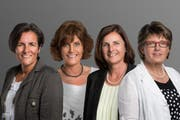 Die CVP-Frauen Irène May-Betschart, Marianne Betschart-Kaelin, Bernadette Deuber-Steiner und Margret Kessler-Schuler (von links) wollen in den Nationalrat. (Bild: PD)