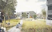 So könnte in Beromünster die Bebauung im Gebiet «Hinder Müli» 2020/21 aussehen. (Bild: Visualisierung: Dost Stadtentwicklung Luzern)