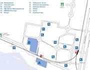 Rund um das Einzugsgebiet der Zuger Messe stehen mehrere Parkiermöglichkeiten für Autofahrer zur Verfügung. (Bild: pd)
