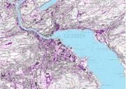 Zu sehen ist die neue Gefährdungskarte zum Oberflächenabfluss im Kanton Luzern im Massstab 1:15'000. Die dargestellten Abflussbereiche sind in jedem Fall im Gelände zu verifizieren. (Bild: Geoportal Kanton Luzern / Screenshot)