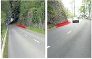 An verschiedenen Stellen soll die Bürgenstockstrasse verbreitert werden (rot eingezeichnet). (Bild: PD)