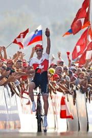 Sieg an Sieg gereiht: Fabian Cancellara – hier 2009 in Mendrisio, als er Weltmeister im Zeitfahren wurde. (Bild: Keystone/Alessandro Della Bella)