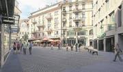 Der Falkenplatz wird mit den alten Steinen neu gepflastert und beim Brunnen zwei Sitzbänke montiert. (Bild: Visualisierung)