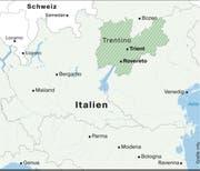 Kartenansicht der Region Trentino im Nordosten von Italien. (Bild: Grafik: mlu)