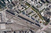 Das Areal Rösslimatt hinter dem Citybay-Komplex soll überbaut werden, links der Bahnhof Luzern, rechts unten die Langensandbrücke. (Bild: zvg)