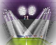 Solarpanels sollen auf der Swisspor-Arena für Strom erzeugen. (Bild: Karikatur Jals)