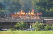 Die Scheune steht in Flammen. (Bild: Leserreporter Max Ziegler)
