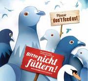 In der Luzerner Innenstadt weisen vom 11. bis 29. April Plakate darauf hin, dass Tauben und Schwäne nicht gefüttert werden sollen. (Bild: Stadt Luzern)