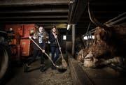 Ariana Birrer aus St. Erhard (links) und Cléa Formaz aus Pfäffikon (SZ) bei der Fütterung der Schottischen Hochlandrinder. (Bild: Manuela Jans-Koch (Rickenbach, 17 November 2016))