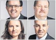 Peter Schilliger (FDP), Yvette Estermann (SVP), Roland Fischer (GLP) und Felix Müri (SVP) sind mögliche Kandidaten für den Ständerat (gegen den Uhrzeigersinn). (Bild: Keystone)