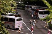 Busse parkieren auf dem Inseli. (Archivbild / Neue LZ)