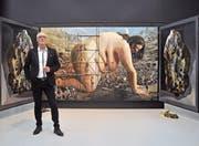 Mit grossformatigen Werken wie «Earth» transportiert Rolf Ohst eine starke Botschaft. Der Künstler stellt aktuell in der Galerie Urs Reichlin in Zug aus. (Bild: Andreas Faessler (22. Februar 2018))