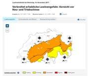 Das Institut für Schnee- und Lawinenforschung SLF hat die Lawinengefahr für die Region Engelberg am Tag des Unglücks als erheblich eingestuft. (Bild: Screenshot slf.ch)
