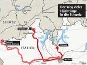 Der Weg vieler Flüchtlinge in die Schweiz. (Bild: Grafik: web)
