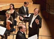 Der Dirigent Thomas Hengelbrock mit den Solisten Daniel Behle (unten) und Markus Butter im KKL. (Bild: Peter Fischli/Lucerne Festival)