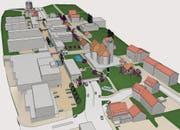 Die Initianten wollen die Kantonsstrasse zugunsten einer Flanierzone (beige) leicht versetzen und überdachen. (Bild: Visualisierung: Komitee «Ebikon lebt»)
