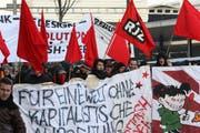 Szene von der Anti-Wef-Demonstration am 23. Januar in Luzern. (Bild Roger Zbinden/Neue LZ)
