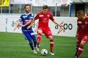 Der FCL lehnt Sliskovic dem FC Biel aus. Im Bild: FCL gegen FC Winterthur.Luka Sliskovic (links) und Christian Fassnacht (Mitte). (Bild: Corinne Glanzmann (Neue LZ))