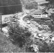 Ein Bild der Gemeinde Flühli kurz nach dem Murgang von der Beichlen ins Rohrigmoos im Sommer 1980. (Bild: PD)