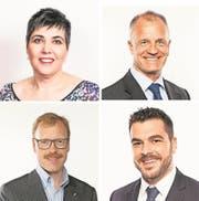 Eine Frau und drei Männer: Das Viererticket der FDP-Kandidaten (von oben links im Uhrzeigersinn): Carina Brüngger, Roger Bosshart, Florian Weber und Andreas Hoststettler. (Bilder: PD)