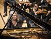Die Starpianistin Martha Argerich gestern im Konzertsaal des KKL. Bild: Manuela Jans-Koch (Luzern, 20. Oktober 2016)
