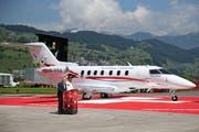 PC-24 Rollout am 1. August 2014 in Buochs: Pilatus Flugzeugwerke benötigt Luftraum über Nidwalden. (Bild: Philipp Schmidli)