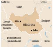 Eine Übersichtskarte vom Südsudan.