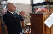 Im Duett: Alessandra Mazzanti an der Orgel und Alberto Astolfi an der Trompete. In der Klosterkirche Frauenthal spielten sie hauptsächlich italienische Werke. (Bild: Werner Schelbert (Hagendorn, 14. Mai 2017))