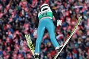 Simon Ammann am Weltcup Skispringen in Engelberg 2016. (Bild: Philipp Schmidli / Luzerner Zeitung (Engelberg, 17. Dezember 2016))