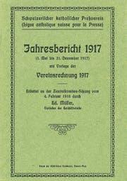 Das Titelblatt vom ersten Jahresbericht des «Schweizerischen katholischen Pressevereins» von 1917.