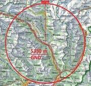 Der Radius der Luftraumsperre erstreckt sich 22 km um Pollegio. (Bild: PD)