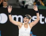 «Ein Mega-Augenblick»: Belinda Bencic suchte nach dem Spiel passende Worte. (Bild: Jürgen Hasenkopf/Freshfocus (Melbourne, 15. Januar 2018))