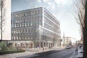 Der Neubau der Höheren Fachschule Gesundheit Zentralschweiz neben dem Kantonsspital Luzern. Spatenstich ist am 26. September (Bild: Visualisierung Metron Architektur AG)